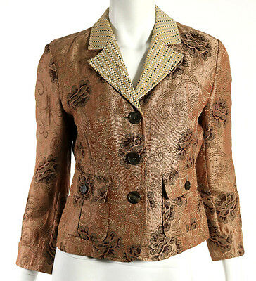 ETRO Brown & Tan Paisley Brocade & Embroidered Lapel Blazer Jacket 42