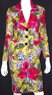 BARBARA TFANK Multi-Color Floral Print Linen Skirt Suit 4