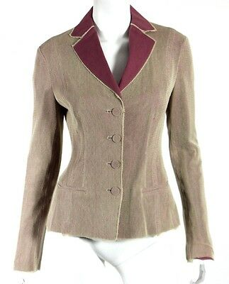 BOTTEGA VENETA Mauve Cotton & Beige Mesh Fitted Blazer Jacket 42
