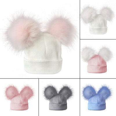 Hot Infant Baby Boy Girl Winter Knitted Cap Double Fur Pom Beanie Hat Outdoor AY