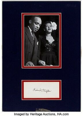 Vintage Lionel Hampton Autograph with B & W photo with Billie Holiday NM-