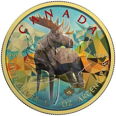 Canada 2017 $5 Maple Leaf 1 Oz Moose Colored Silver Coin