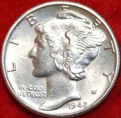 Uncirculated 1942-D Denver Mint Silver Mercury Dime Free Shipping