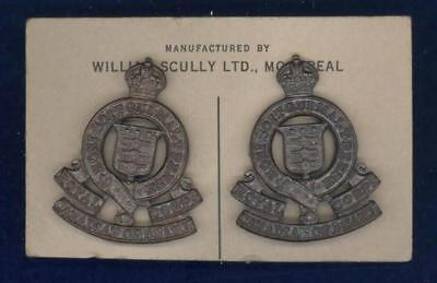Royal Canadian Ordnance Corps-PAIR of bronze OFFICER collar badges-1926 issue