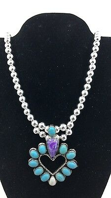 Silver and Turquoise Heart Necklace Native American Amethyst Handmade *G37