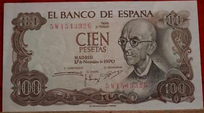 Uncirculated 1970 Spain 100 Pesestas Note Free S/H