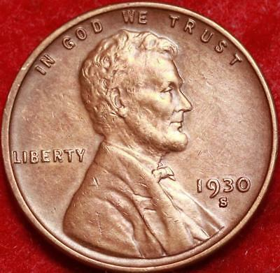 Uncirculated 1930-S San Francisco Mint Copper Lincoln Wheat Cent Free Shipping