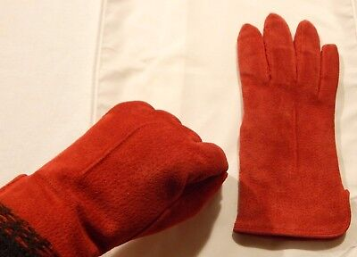 Red Suede Leather Gloves By Timberlake Size Medium Fully Lined Perfect Condition