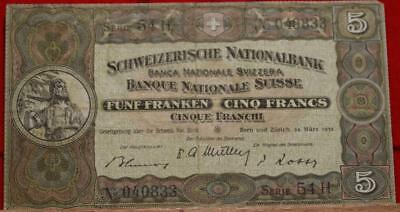 1952 Switzerland 5 Francs Note Free S/H