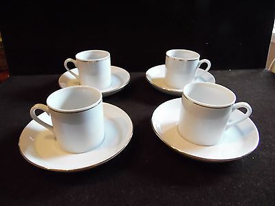 4 White With Gold Accent Trim Demitasse Cup and Saucers