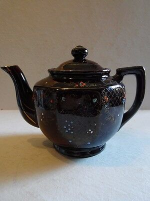 Vintage Moriage Brown Glaze Red Clay Hand Painted Flowers Japan Teapot