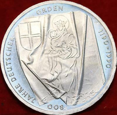Uncirculated 1990-J Germany 10 Mark Foreign Silver Coin Free S/H
