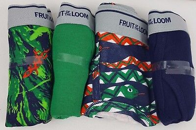 Fruit of the Loom Boys Briefs 4 Pair Size Large 14-16 Green Blue Snake Lizard
