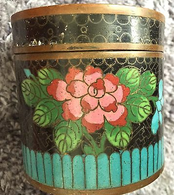 Black Rose Antique Chinese Cloisonné Tobacco Can