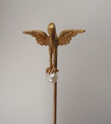 Antique 14K Gold Stick Pin- Bird & Pearl - Alling & Co
