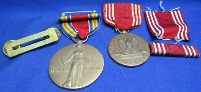 WWII Army Good Conduct and Freedom Victory Medals and Ribbons Lot Of 4