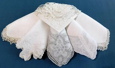 6 Vtg White Wedding Hankies Lace Embroidery Pulled Thread Hanky Lot