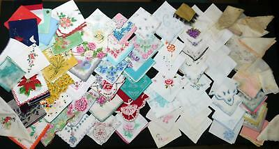 81 Vtg Hankies Cutter Lot Floral Embroidery White Silk Hanky