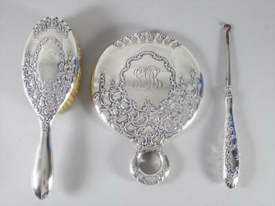 Tiffany & Co Sterling Silver Vanity / Grooming Set - Mirror, Brush + Button Hook
