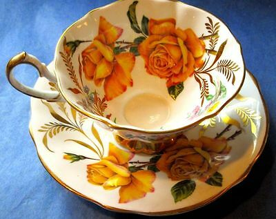 Queen Anne Beautiful Humongous Yellow Roses Daffodils Bone China Cup & Saucer