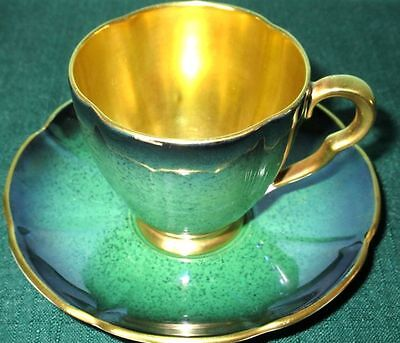Carlton Ware Gorgeous Emerald Green And Gold Vintage Cup & Saucer 1930s