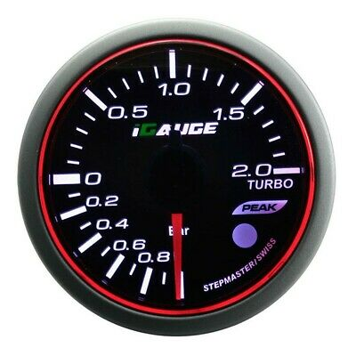 52mm 3 colors LED Electrical turbo boost gauge with warning and peak (PSI)