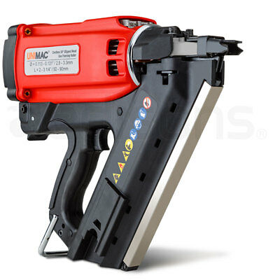 Cordless Framing Nailer 34 Degree Gas Nail Gun Portable Battery Charger