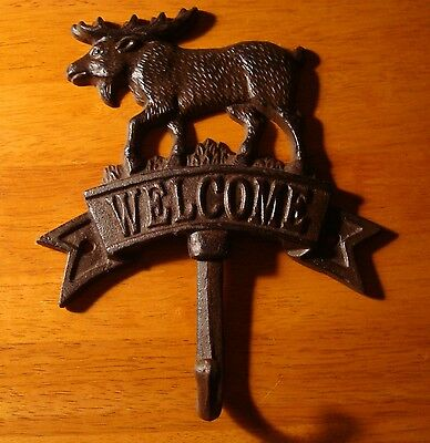 CAST IRON MOOSE WELCOME HOOK Cabin Kitchen Lodge Bathroom Towel Hanger Decor NEW