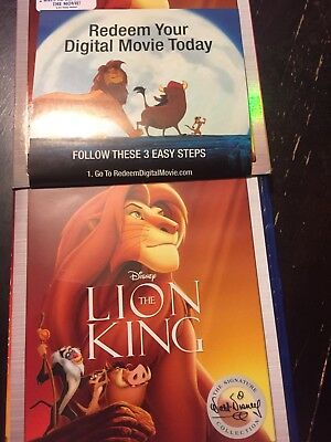 The Lion King Disney digital HD code (not Blu Ray) Signature Collection