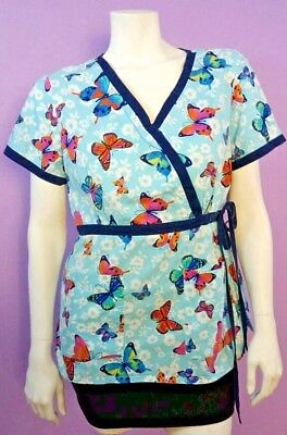 Women's koi by Kathy Peterson Blue Floral Butterfly Side Tie Scrub Top Size Lg