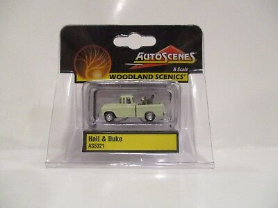 "WOODLAND SCENICS N SCALE AUTO SCENES - ""HALL & DUKE"" - PICK-UP TRUCK w/DOG - NEW"