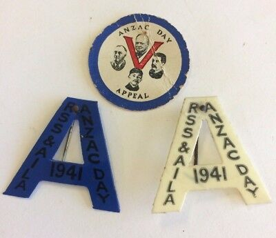 3 WW2 Anzac Day Badge Pins 1941 Blue & White A, Churchill Stalin V For Victory