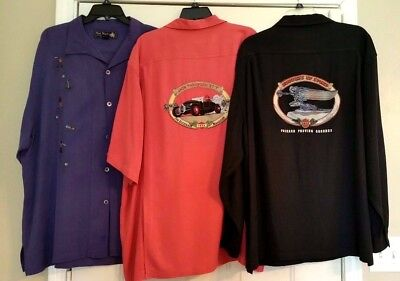 Nat Nash Limited Edition Mens Silk Shirts Lot of 3 Purple Black Rust Size XL