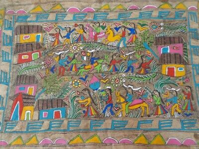 Vtg Amate Mexican Folk Art Paper Bark Mounted Painting Original Hand Painted