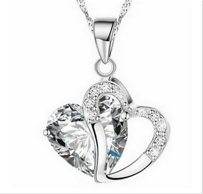 Fashion Women Heart Clear  Crystal Rhinestone Silver Chain Pendant Necklace  @