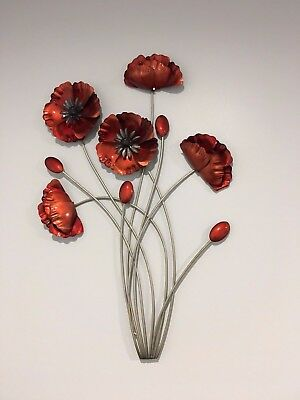Red Poppies - Metal Wall Art Decor
