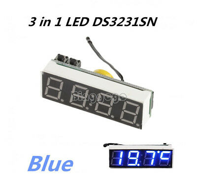 1Stks Blue DS3231SN 3 in 1 LED Digital Clock Temperature Voltage Module