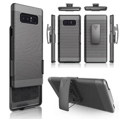 Black Rubberized Hard Case Cover + Belt Clip Holster Stand For Samsung Phone