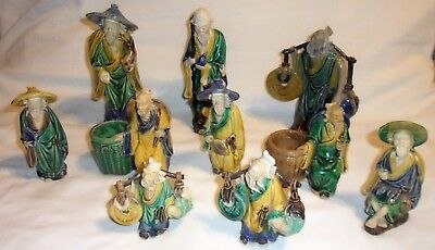 Chinese Mudmen/mudman collection of 10 vintage miniatures - ex cond