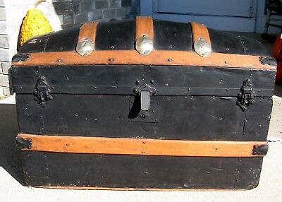 Antique 1880's Humpback Steamer Trunk Ornate Wood & Metal dome camel victorian
