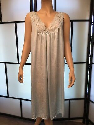 Vintage Val Mode Light Blue Peignoir, Nightgown And Robe Set Sz Large