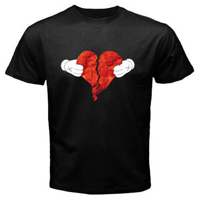 367cba0f6a66b1 New Kanye West 80 s And Heartbreak Album Cover Men s Black T-Shirt Size S-
