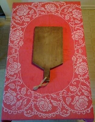 """Antique VTG Cross Stitch Red Linen Tablecloth 64x53"""" French Farmhouse"""