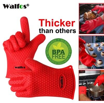 BBQ Gloves Heat Resistant Silicone Barberque Grill Gloves Kitchen Cooking Glove.