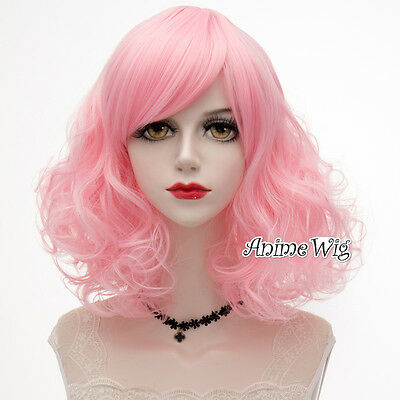Sweet Lolita 40cm Short Curly Light Pink Party Cosplay Wig+Wig Cap