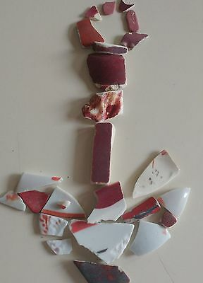 GENUINE BEACH SEA GLASS SURF-TUMBLED Pottery-Tile-Porcelain Lot RED AND WHITE