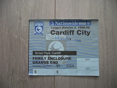 1998-99  Cardiff City  v Shrewsbury Town -Division Three-  used ticket stub