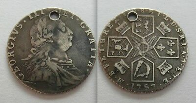Collectable 1787 King George III Silver Sixpence - Holed