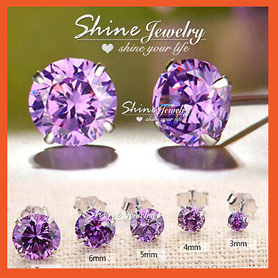 925 Sterling Silver Mens Womens Girls Round Stud Earrings Purple Amethyst Gift