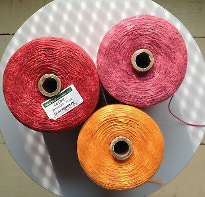 Three Cones of Linen Yarn, Orange, Rhubarb, and Pink, for Knitting, crochet,2ply